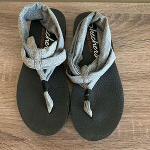 Skechers meditation gray sandals size 8